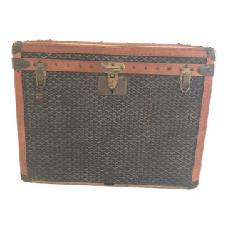 1925 Antique Goyard Steamer Luggage Trunk For Sale