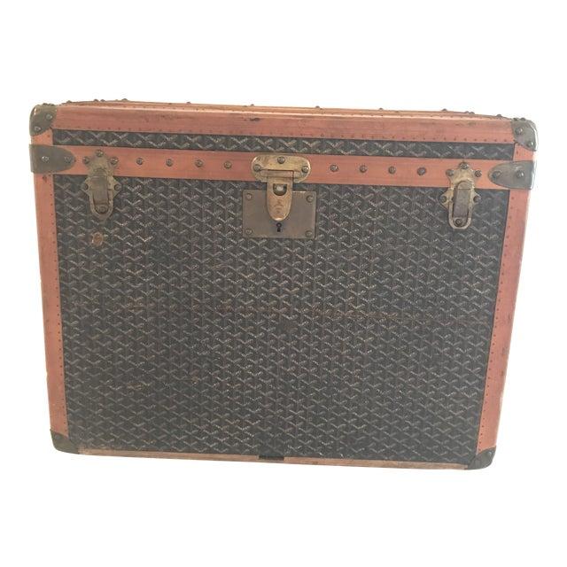 1925 Antique Goyard Steamer Luggage Trunk For Sale