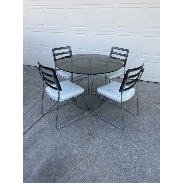 Rare find: this vintage chrome, smoke glass, and smoke lucite dinette set has the original chairs with not only their...