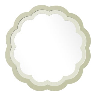 Fleur Home x Chairish Audobon Peony Circle Mirror in Cooking Apple Green, 30x30 For Sale