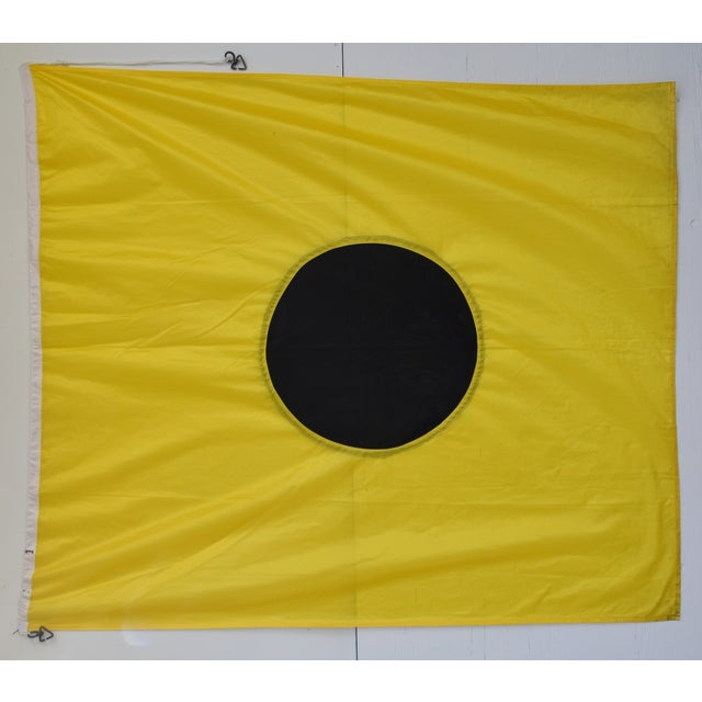 "Large Vintage Maritime Nautical Naval Signal ""I"" Flag - 67"" X 55"" For Sale - Image 4 of 6"