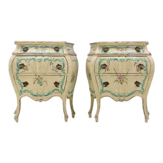 Italian Painted Nightstands - A Pair For Sale