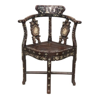 1920s Antique Chinese Mother of Pearl Inlaid Rosewood Corner Chair For Sale