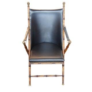 Italian Folding Campaign Chair Leather Seat & Nailhead Trim Valenti? Bamboo Oak For Sale