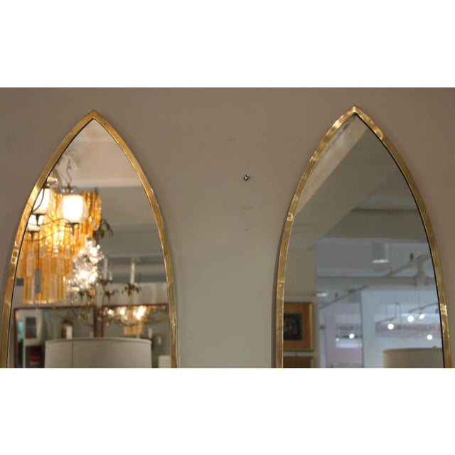 Mid 20th Century Mid-Century Modern Italian Brass Arched Frame Mirrors For Sale - Image 5 of 10