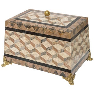English Regency Revival 1980s Tessellated Stone Box For Sale