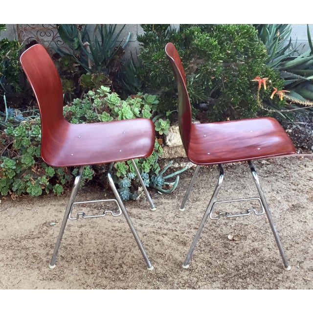 Mid-Century Modern Vintage Royal Pagholz Bent Plywood Stacking Chairs- a Pair For Sale - Image 3 of 7
