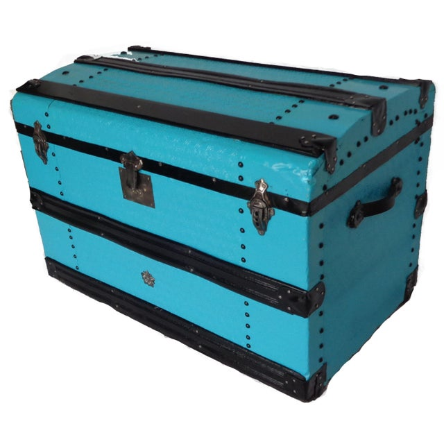 Metal Covered Turquoise Antique Curve Top Trunk For Sale - Image 4 of 5