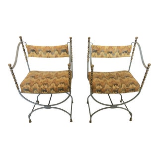 Savonarola Style Grey Painted Iron and Brass Campaign Chairs -A Pair For Sale