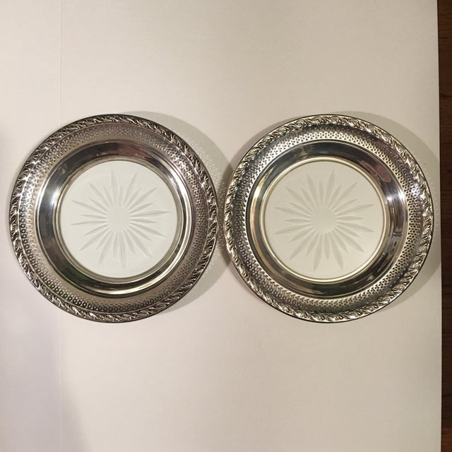Set of 2 Sterling Silver Cut Glass Wine Coasters - Image 2 of 9