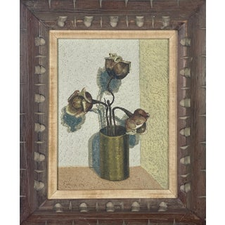 1960s Brutalist Style Floral Still Life Oil Painting, Framed For Sale