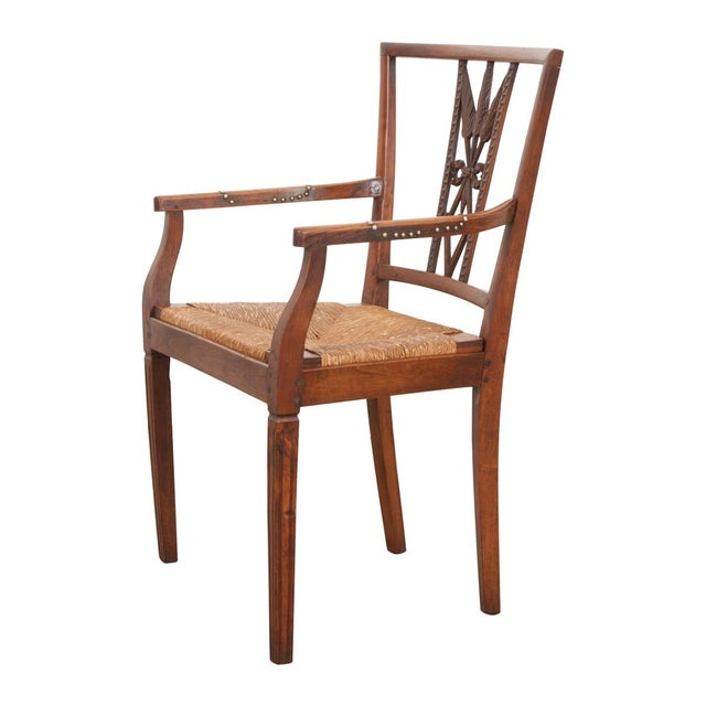 French 19th Century Louis XVI Style Rush-Seat Armchair For Sale - Image 9 of 9
