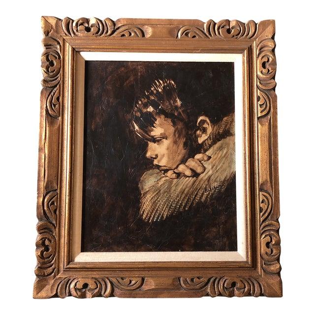Original Vintage Young Boy Portrait Painting For Sale