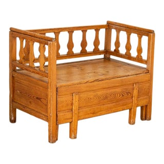 Mid 19th Century Antique Pine Bench With Storage, Sweden For Sale