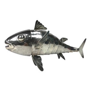 1950s Graziella Laffi Sterling Silver Articulated Fish Sculpture For Sale