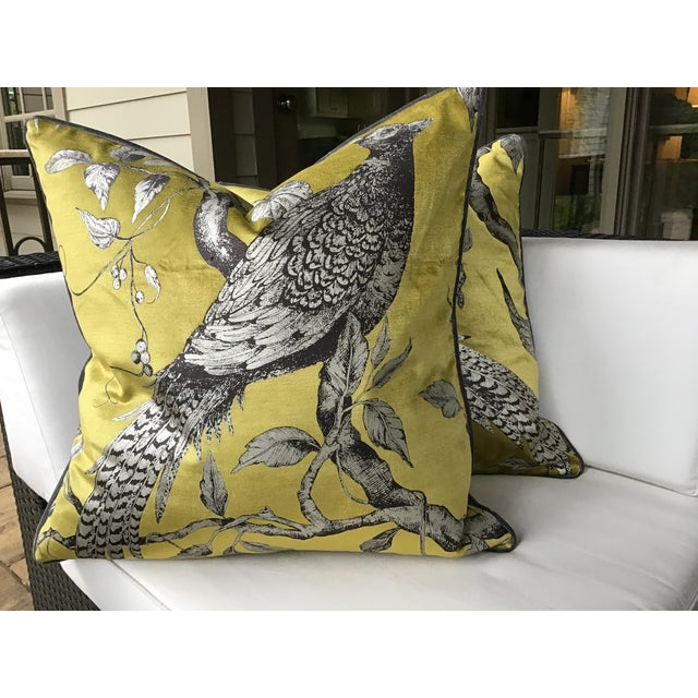 Art Deco Zoffany Darnley Toile-Tigers Eye Chartreuse and Gray Down Filled Pillows - a Pair For Sale - Image 3 of 8
