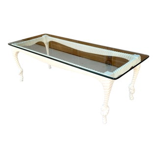 Vintage Knotted Rope Carved Coffee Table For Sale