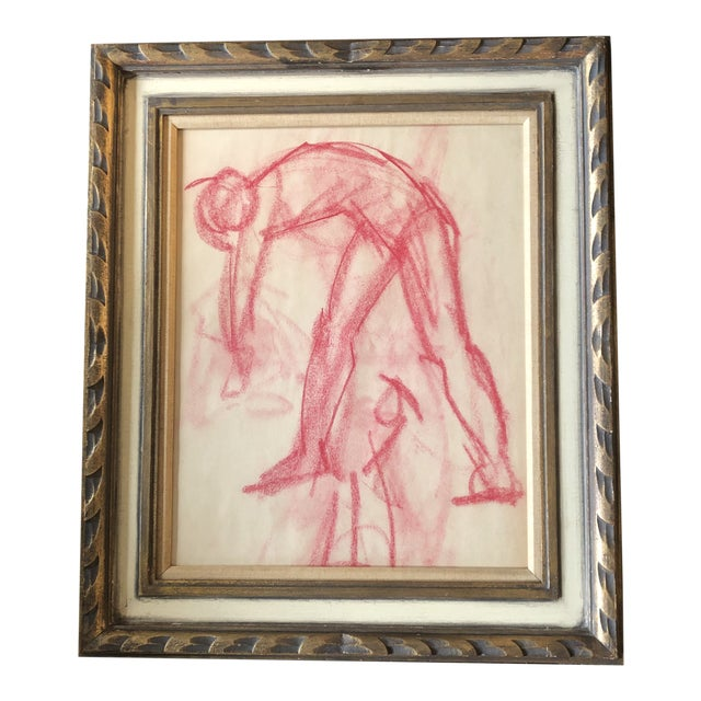 Original Vintage Abstract Pink Pastel Figure Study Drawing Ornate Vintage Frame 1950's For Sale