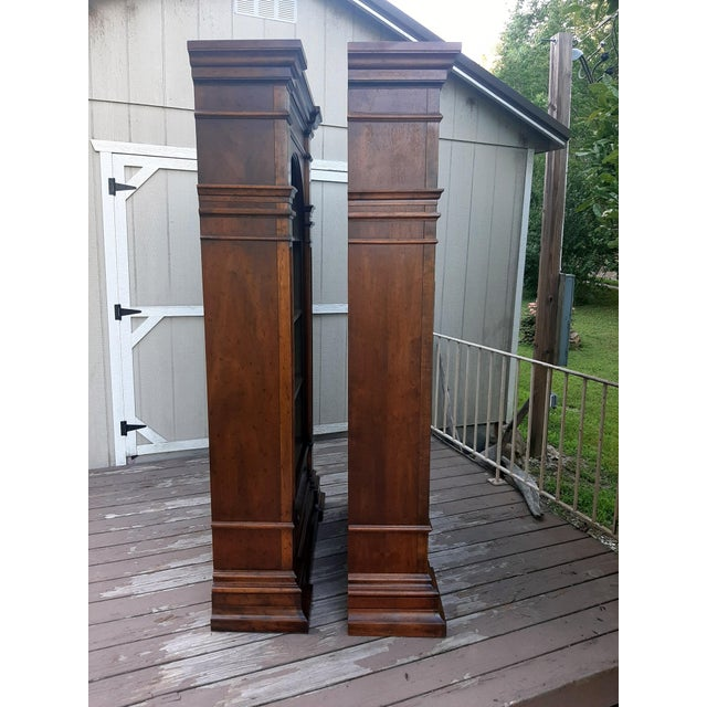 Chestnut Vintage Drexel 1968 Et Cetera French Style Aged Walnut Solid Wood Bookcases - a Pair For Sale - Image 8 of 13