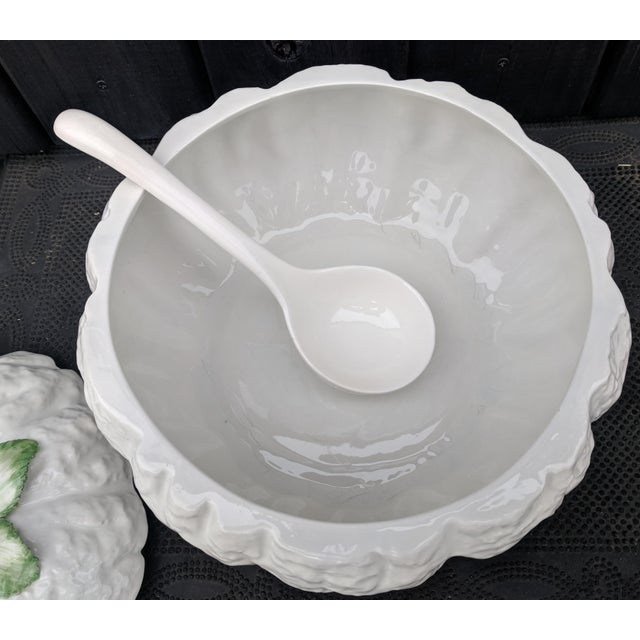 Vintage Italian Majolica White Pumpkin Tureen Dish With Ladle For Sale - Image 4 of 11