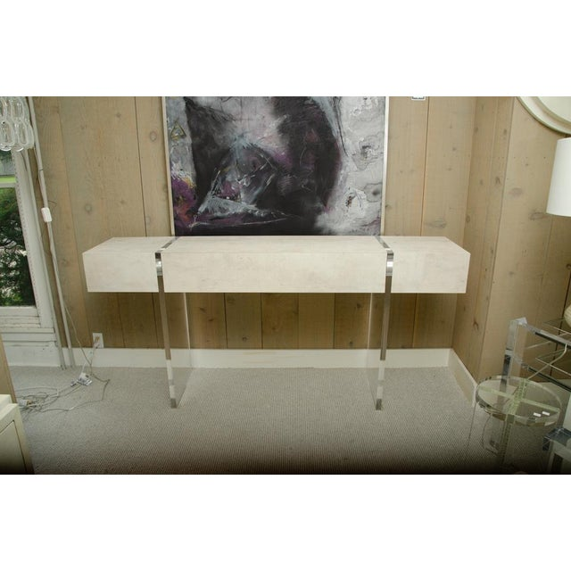 Contemporary 1 Drawer Console With Lucite Legs For Sale - Image 10 of 10
