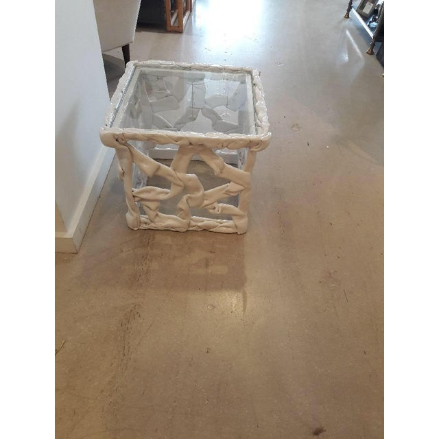Tony Duquette 1970s Abstract White Taffy Resin Cube Table For Sale - Image 4 of 9