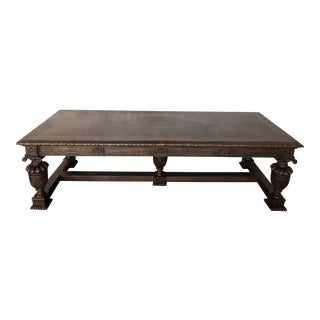 Old English Jacobean Style Oak Center DiningTable For Sale