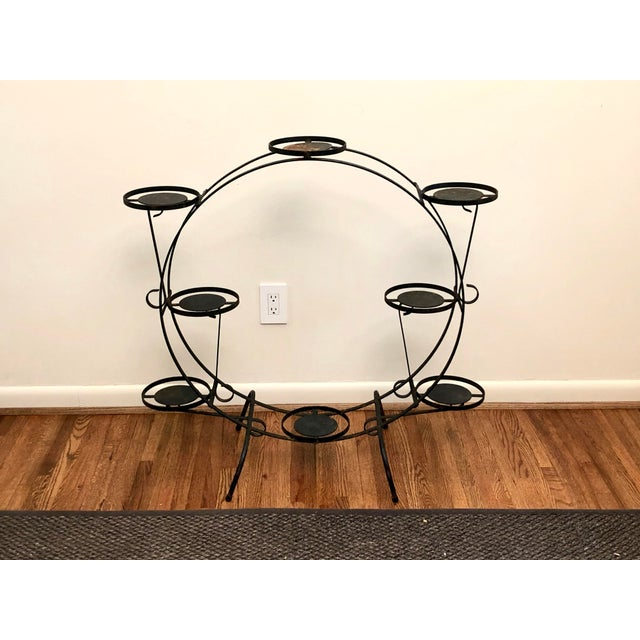 1930s Art Deco Circular Iron Plant Stand For Sale - Image 11 of 11