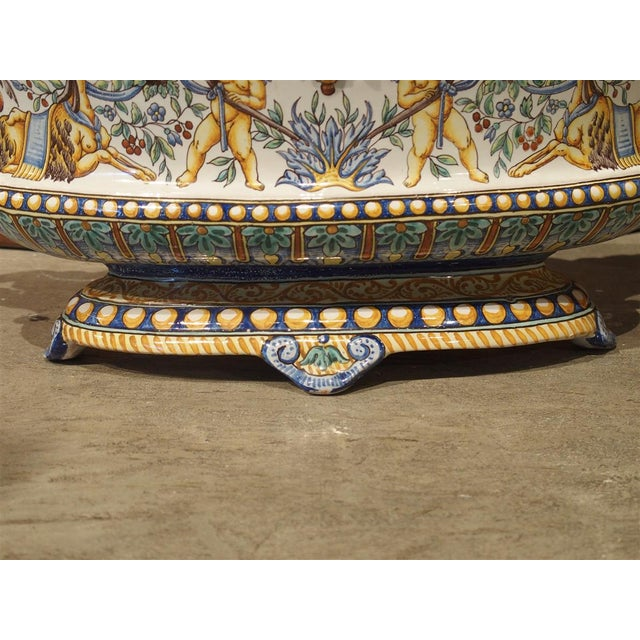 19th Century French Faience Jardiniere, Antoine Montagnon, Nevers For Sale - Image 9 of 13