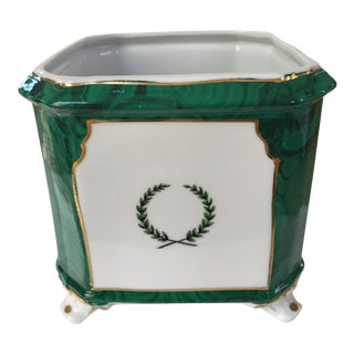 1970s Vintage Japanese Footed Faux Malachite Planter For Sale