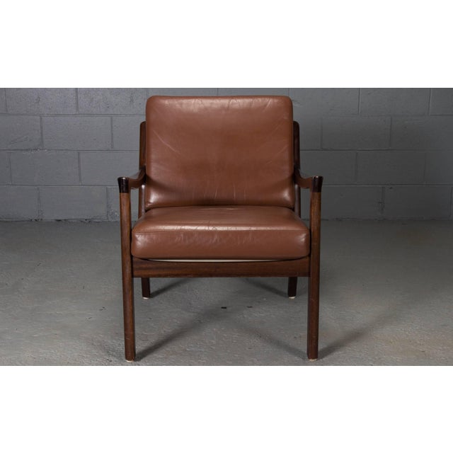 Ole Wanscher Pair of Senator Chairs by Ole Wanscher in Brown Leather For Sale - Image 4 of 9