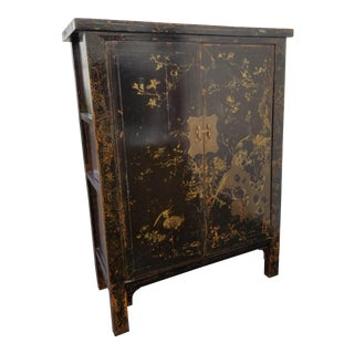 Vintage Black & Gold Color Asian TV Armoire