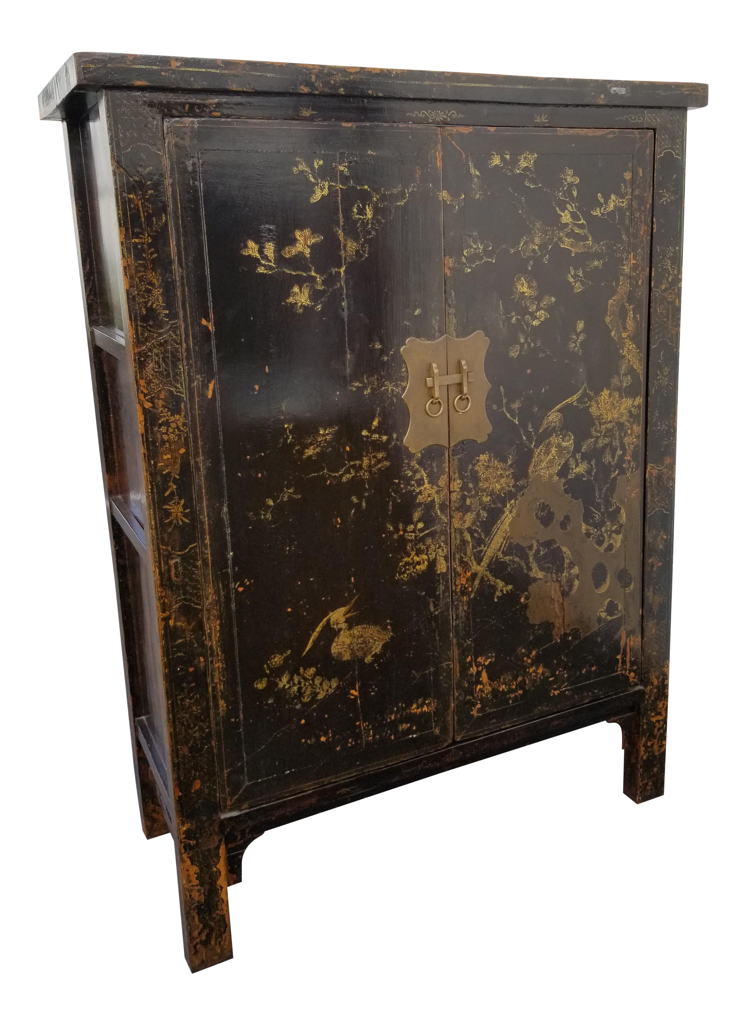 Vintage Black U0026 Gold Color Asian TV Armoire