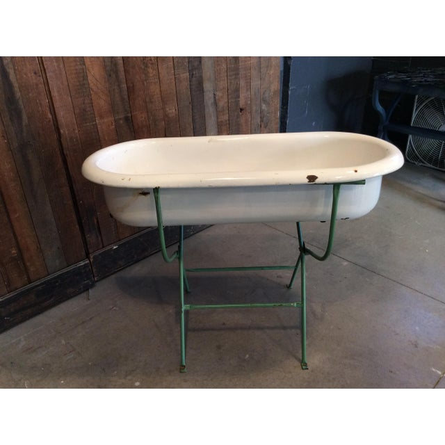 Vintage White Baby Bathtub For Sale - Image 4 of 4