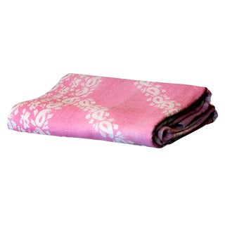 Rose Printed Bengal Kantha Throw For Sale