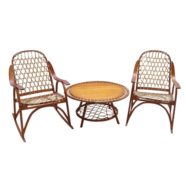 Vintage Snocraft Snowshoe Rocking Chairs And Table Chairish