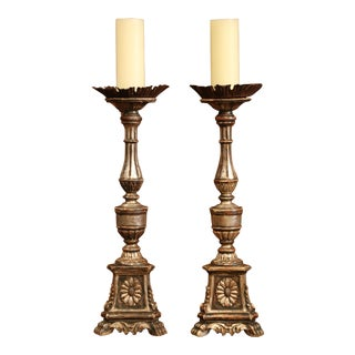 Pair of 19th Century Italian Carved Silverleaf Candlesticks Prickets For Sale