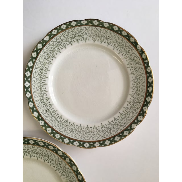 Scallop Edged Green & Gold Plates- Set of 3 For Sale - Image 4 of 5