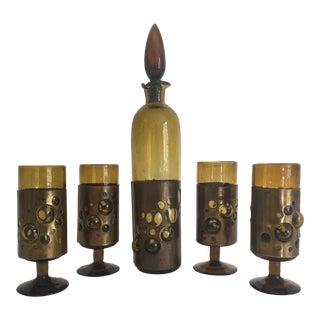 Vintage Mid Century Modern Brutalist Felipe Derflingher Imprisoned Glass Decanter & Glasses - Set of 6 For Sale