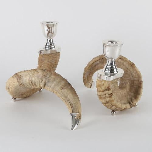 Rustic PAIR OF RAM'S HORN AND SILVER CANDLE HOLDERS For Sale - Image 3 of 10