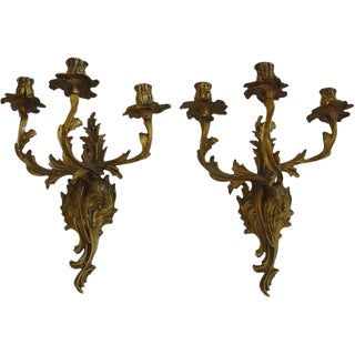 French Rococo Louis XV Style Bronze Three-Arm Sconces a Pair For Sale