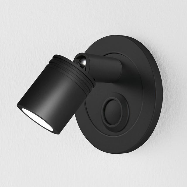 Led Reading Light With Satin Black Cylindrical Grooved