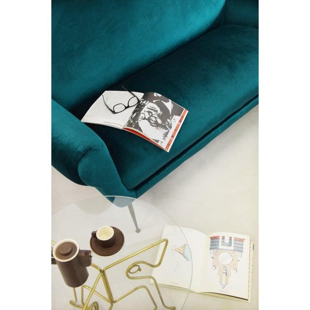Minotti Mid-Century Modern Turquoise Sofa by Gigi Radice For Sale - Image 6 of 7