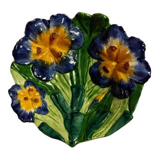 Vintage Italian Hand Painted Iris Bowl For Sale