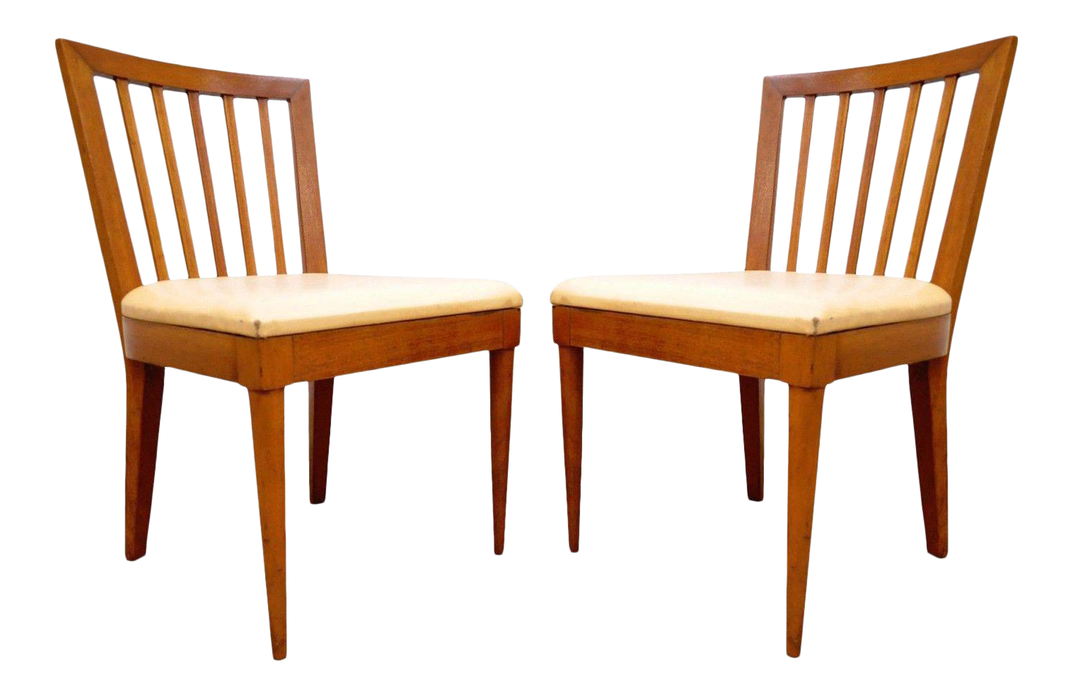 Pair Vintage Mid Century Modern Maple Slat Back Dining Chairs Paul McCobb  Style