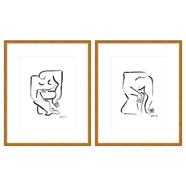 """Medium """"Woman and Man, a Pair"""" Print by Sia Dzahn, 36"""" X 22"""" For Sale"""
