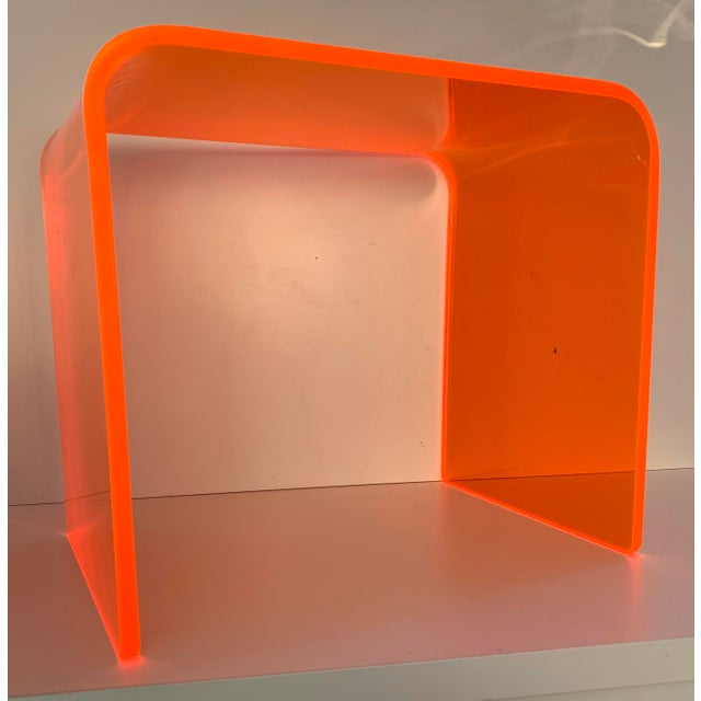 """The Side Piece"" Side Table in Neon Orange For Sale In San Francisco - Image 6 of 7"