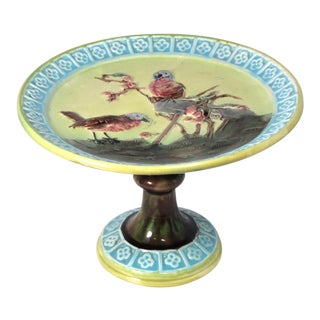 Antique 1880s Majolica Compote Cake Plate For Sale