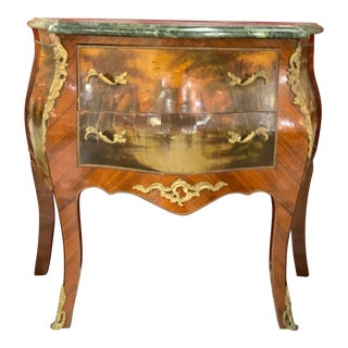 20th Century French Provincial Bombay Marble Top Water Scene Side Table For Sale