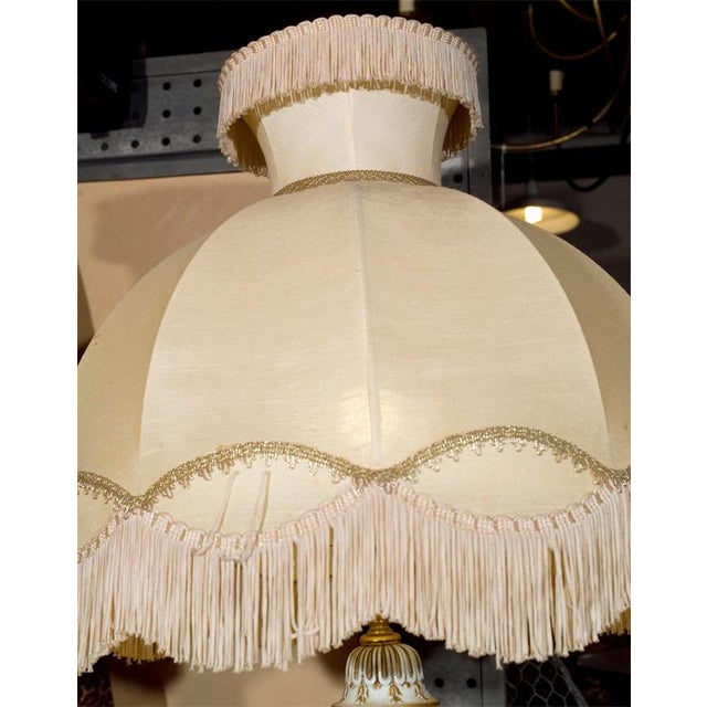 Ornate White Ceramic Lamps on Bronze Base - A Pair For Sale - Image 7 of 9